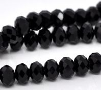 100 Black Crystal Glass Faceted Rondelle Beads  6 x 4.6 mm